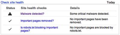 google webmasters healt popup