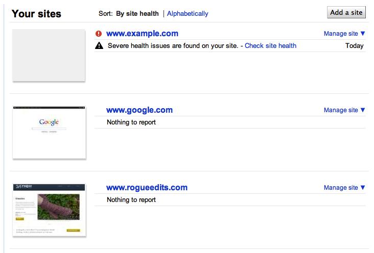 homepage google webmasters tools