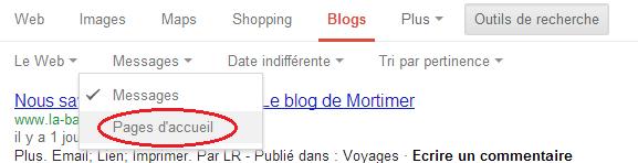 Google Blogs Option pour les pages d'accueil